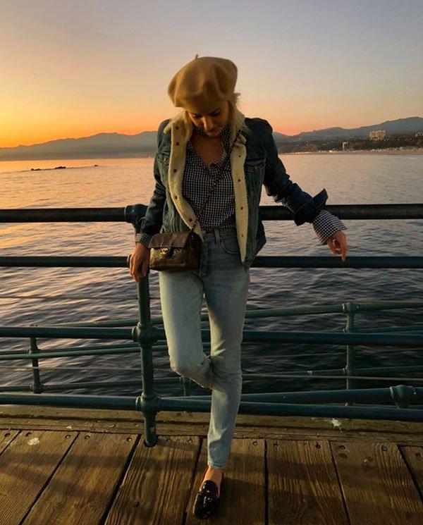 Karina Facci - camisa-vichy-calca-jeans-street-sytle-boina - mocassim - meia estação - street style