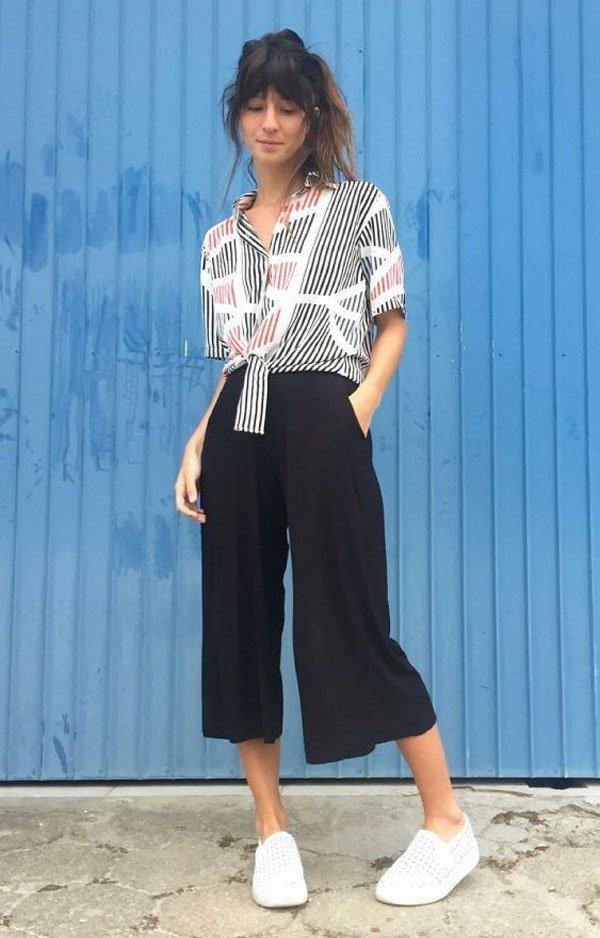 Larissa Busch - blusa-calça-culotte-slip-on - culotte - verão - street style