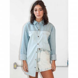 Camisa Oversized Jeans 2 Cores Tamanho: Pp - Cor: Azul