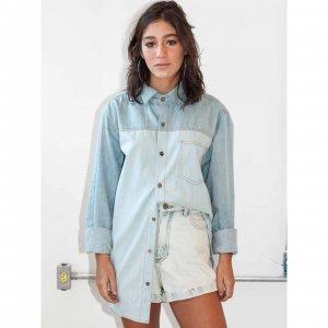 Camisa Oversized Jeans 2 Cores Tamanho: Pp - Cor: Azul