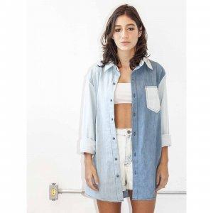 Camisa Oversized Jeans 3 Cores Tamanho: Gg - Cor: Azul