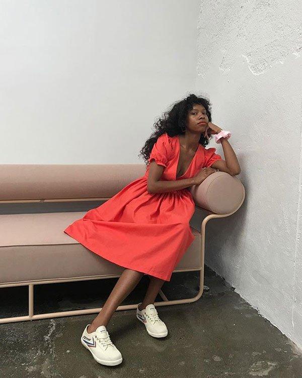 Lisa Says Gah - vestido-vermelho-bufante - manga bufante - inverno - street style