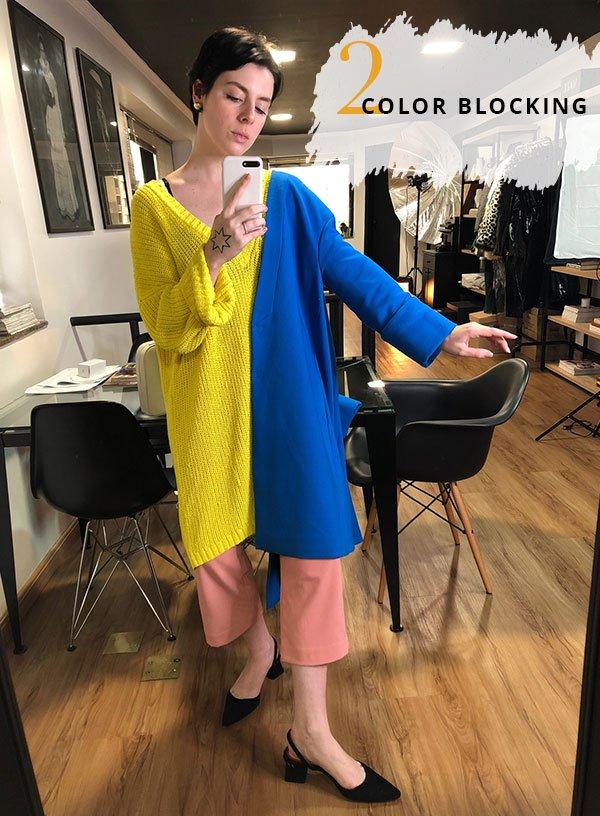 Gabriela Bonomi - color-blocking - calça rosa - inverno - street style
