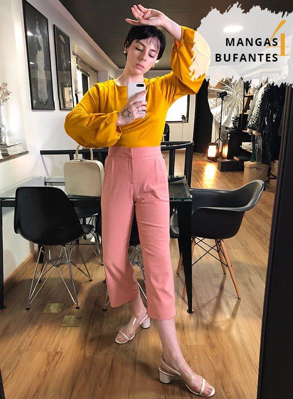 Gabriela Bonomi - manga-bufante - calça rosa - inverno - street style