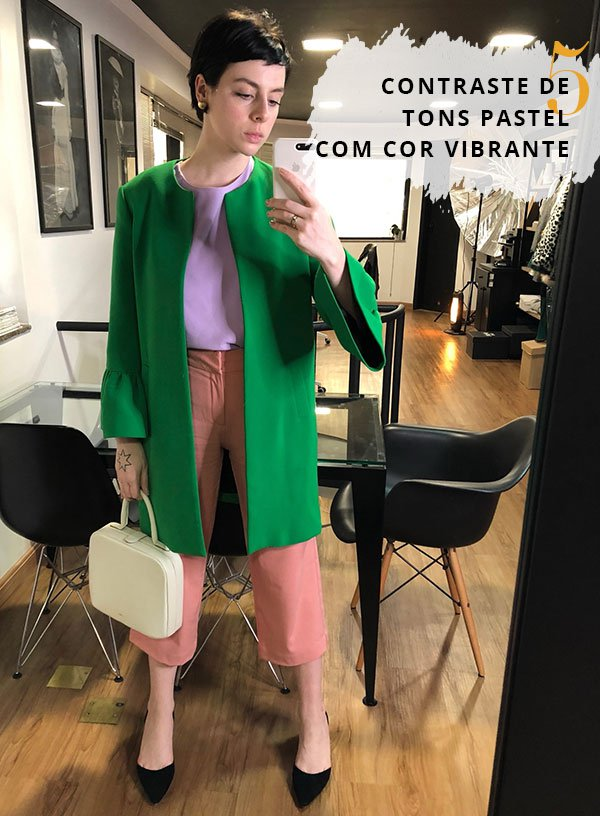 Gabriela Bonomi - casaco-verde-lilas-branco - calça rosa - inverno - street style
