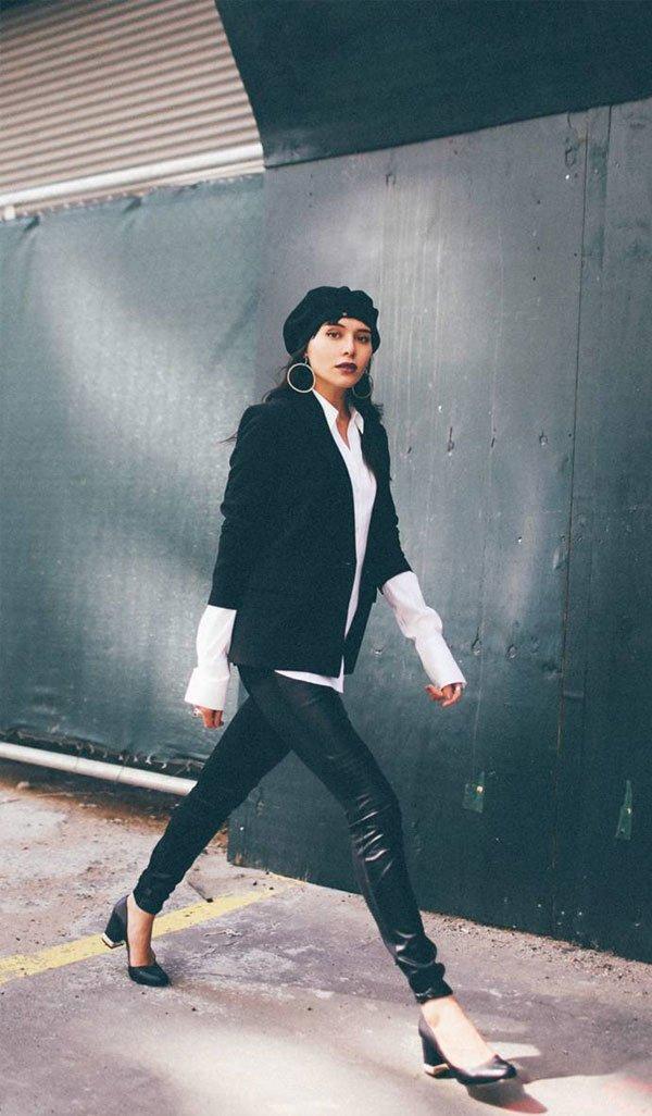 Natalie Suarez - camisa-blazer-calça-couro-scarpin - calça-couro - inverno - street style