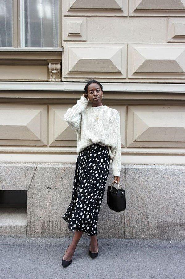 Sylvie Mus - tricot-saia-poa-sapato - poá - meia estação - street style