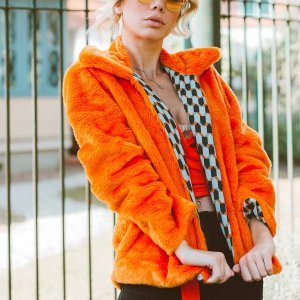 Casaco Fluffy Dupla Face Orange Tamanho: P - Cor: Laranja