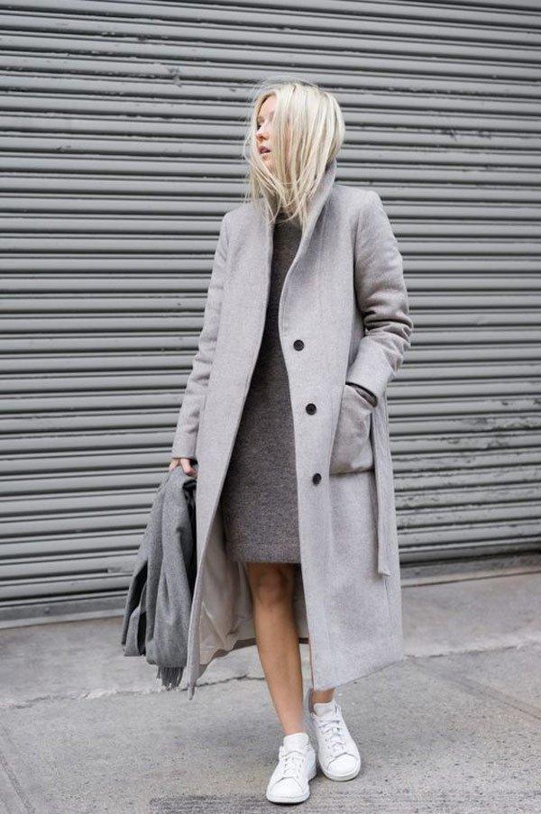 it-girl - vestido-cinza-trench-coat-tenis - tenis - inverno - street style