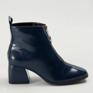 Bota Zíper Verniz Azul Tamanho: 37 - Cor: Azul