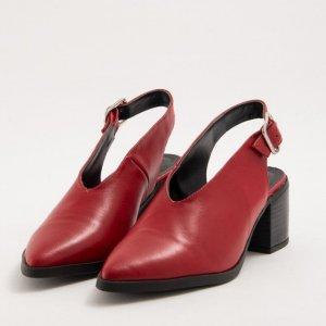 Sapato V Slingback Couro Vermelho Tamanho: 35 - Cor: Vermelho