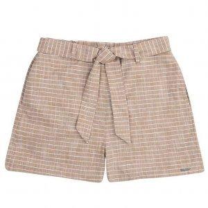 Shorts Em Tecido De Fio Tinto Listrado Com Cintura Alta