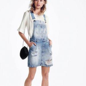 Salopete Jeans De Algodão Detalhes Destroyed