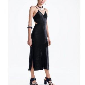 Vestido Midi Em Tecido Viscose Com Amarração Nas Costas