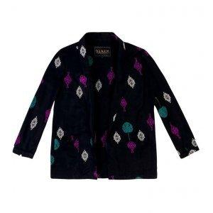Kimono Em Tecido Tela De Viscose Com Bordado