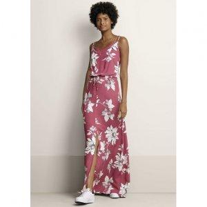 Vestido Longo Estampado Com Fenda Frontal Em Tecido De Viscose