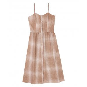 Linen Fabric Dress With Front Closure