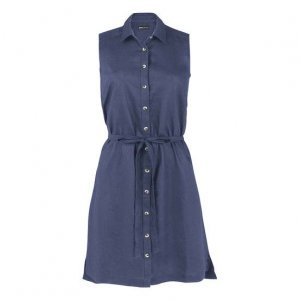 Basic Linen Fabric Dress With Removable Strip
