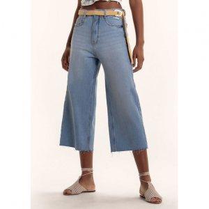 Calça Jeans Na Base Wide Leg Com Lavação E Barra Cortada
