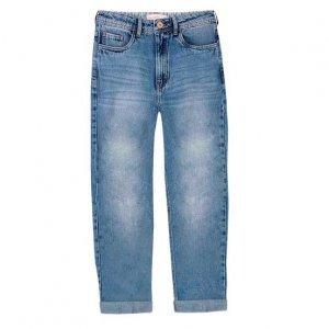 Calça Jeans Reta Com Lavação E Barra Dobrada