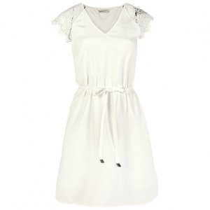 Viscose Fabric Dress With Lace And Waist Fit