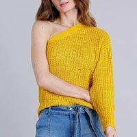 blusa feminina em tricô um ombro só manga longa amarela