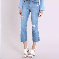 calça jeans feminina cropped flare cintura alta barra desfiada azul claro