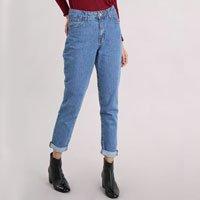calça jeans feminina mom pants azul médio