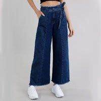 calça jeans feminina pantacourt clochard azul escuro