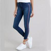 calça jeans feminina super skinny com faixa lateral azul escuro