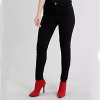 calça de sarja feminina super skinny cintura alta preta