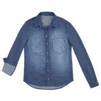 Camisa Jeans Feminina Com Bolsos Frontais E Lavação Clara