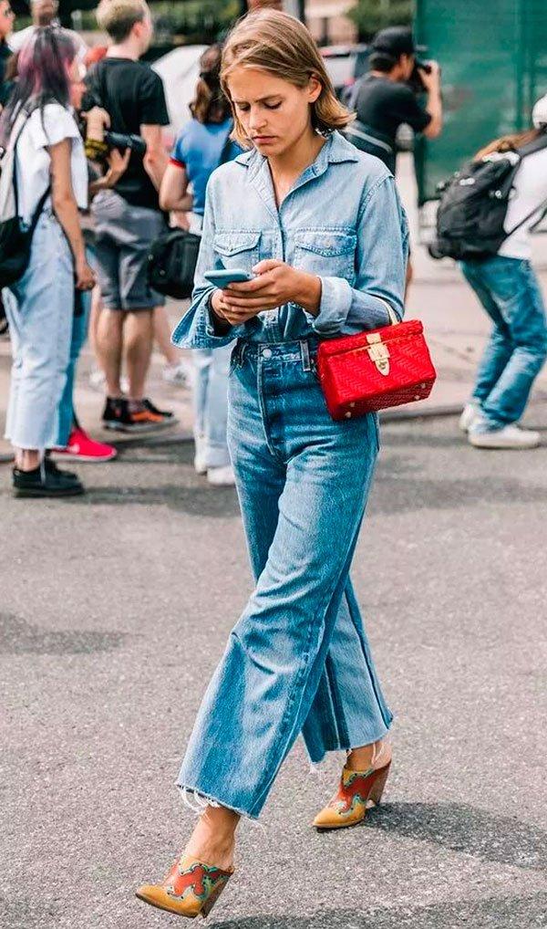 it-girl - camisa-jeans-calca-jeans-look-street-mule - camisa jeans - verão - street style