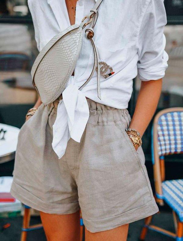 it-girl - camisa-short-linho-street - short linho - verão - street style