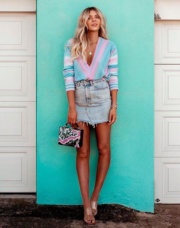 Elle Fergurson - blusa-colorida-saia-jeans - saia jeans - verão - street style