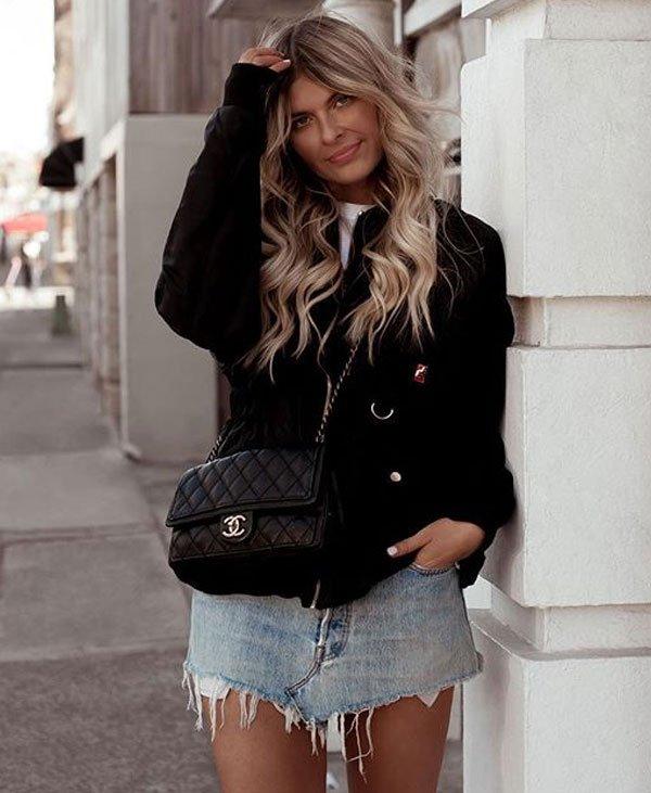 Elle Fergurson - elle-fergurson-saia-jeans-blazer-outfit - saia jeans - verão - street style