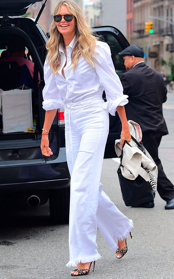 elle - macpherson - look - street style - all white