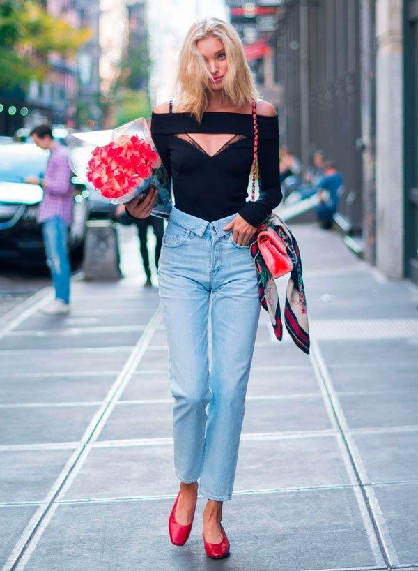 Elsa Hosk - calca-jeans-flit-sapatilha - calça flip - verão - street style
