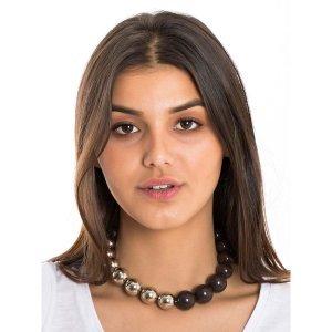 Necklace Silver Half Balls Size: U - Color: Silver