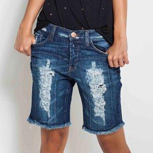Bermuda Jeans Destroyed Tamanho: 36 - Cor: Azul