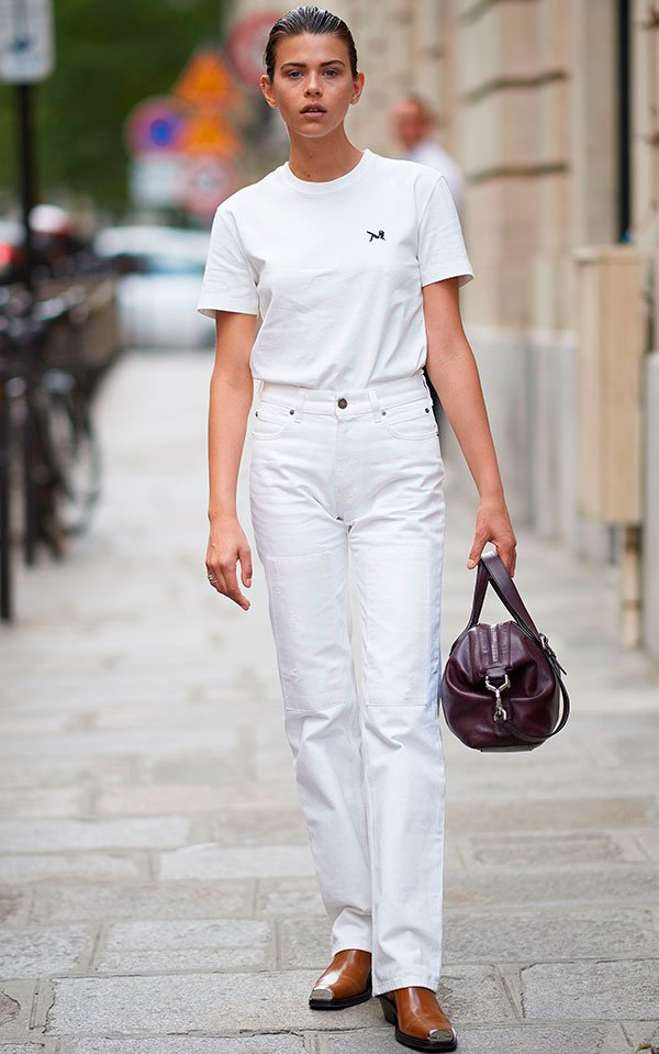 georgia  - fowler - look - jeans - all white