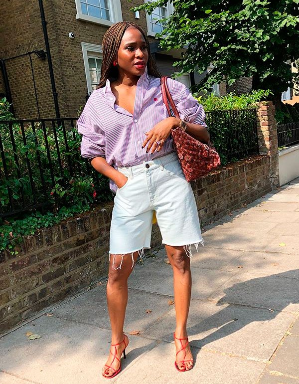 Lisa Folawiyo - camisa-bermuda-jeans-street - bermuda - verão - street style