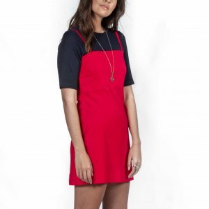 Red Linen Dress Size: m - Color: Red