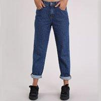 calça jeans feminina mom azul escuro