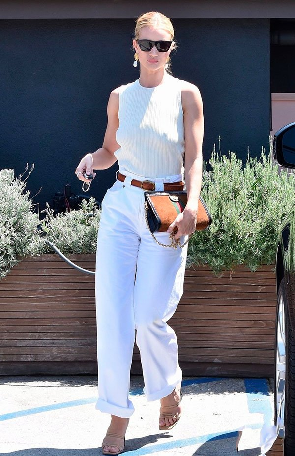 rosie - hung - look - all white - jeans