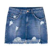 Saia Jeans Em Algodão Com Destroyed E Barra Degrau Desfiada