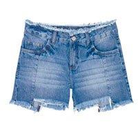 Shorts Jeans Feminino Com Cintura Intermediária E Barra Degrau