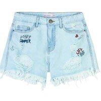 Shorts Jeans Na Base Pin Up Loose Com Aplicação