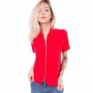 Camisa De Viscose Com Zíper Vermelha Tamanho: P - Cor: Vermelho