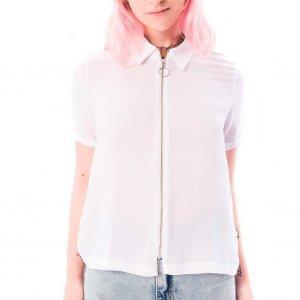 Camisa De Viscose Com Zíper Branca Tamanho: Pp - Branco
